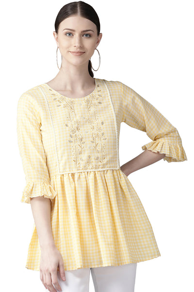 Buy Muslin Checks Print Top in Yellow Online
