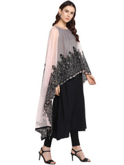 Net Kurta in Black
