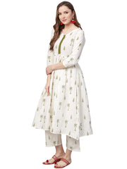 Shop Woman's Cotton Kurta Set in White At KarmaPlace