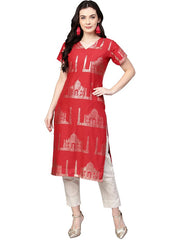Cotton Foil Printed Kurta Sets in Red