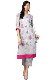 Shop Pigment Print Kurta with Palazzo in Grey Online