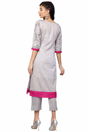 Shop Chanderi-like Silk/ Faux Chanderi-like Pigment Print Kurta with Palazzo in Grey Sopping