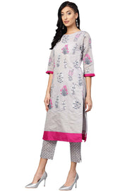 Shop Woman's Chanderi Pigment Print Kurta with Palazzo in Grey At KarmaPlace