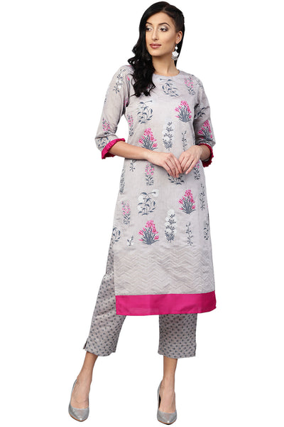 Buy  Chanderi Silk/ Faux Chanderi Pigment Print Kurta with Plazzo in Grey Online