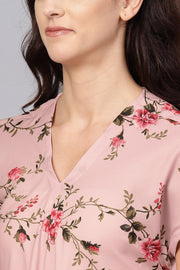 Polyester Digital Print Kurta Set in Pink