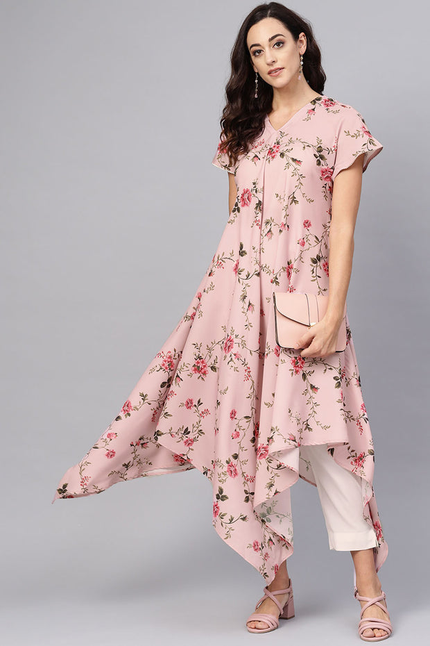 Ahalyaa Polyester Digital Print Kurta Set in Pink