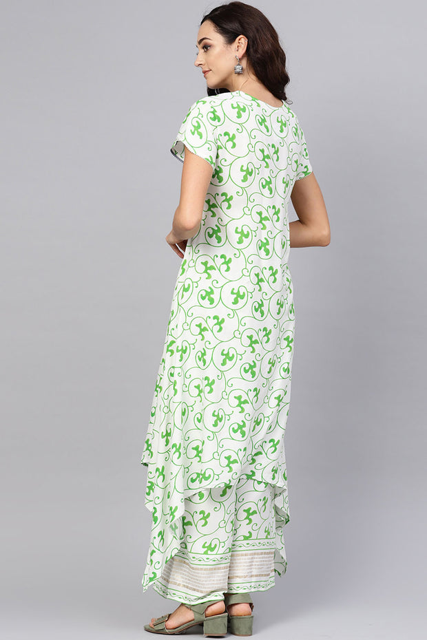 Viscose Rayon  Digital Print Kurta Set in Off White