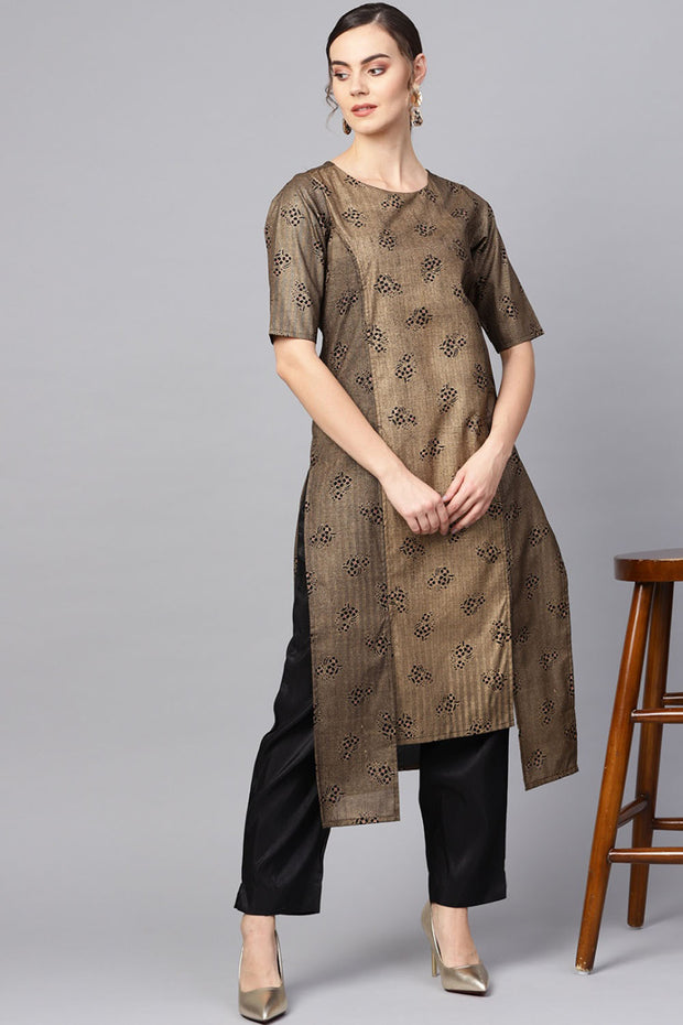 Poly Art Silk Printed Kurta Set in Golden