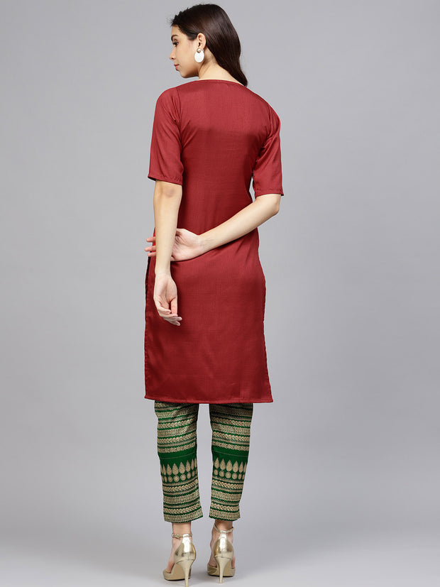 Poly Art Silk Kurta Sets in Red