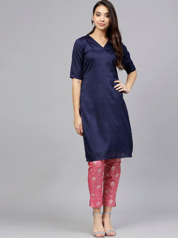 Poly Art Silk Kurta Sets in Navy Blue