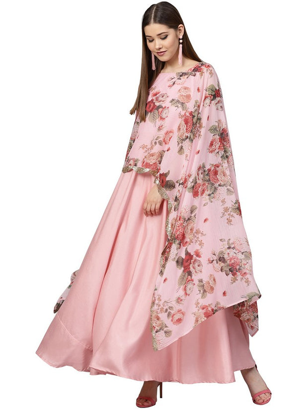 Buy Poly Art Silk and Chiffon Kurta in Pink Online