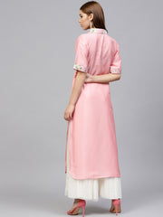 Poly Art Silk Kurta in Pink