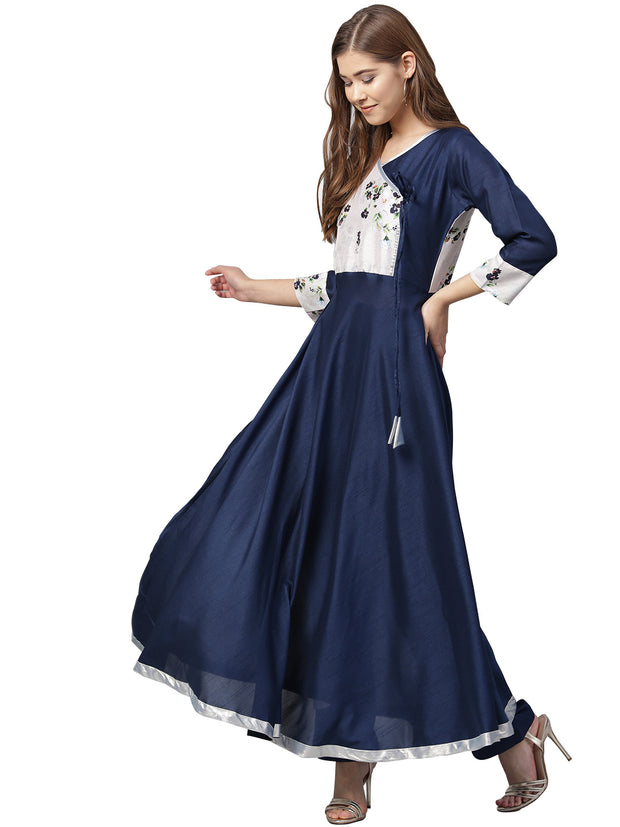 Ahalyaa Women's Silk Kurta in Blue