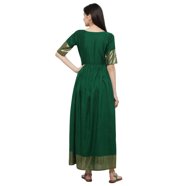 Poly Art Silk Kurta in Green