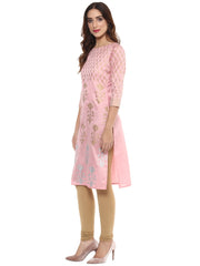 Ahalyaa Women's Silk Kurta in Light Pink