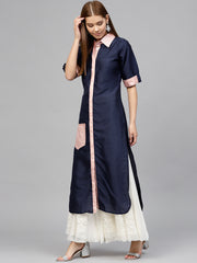 Poly Art Silk Kurta in Blue