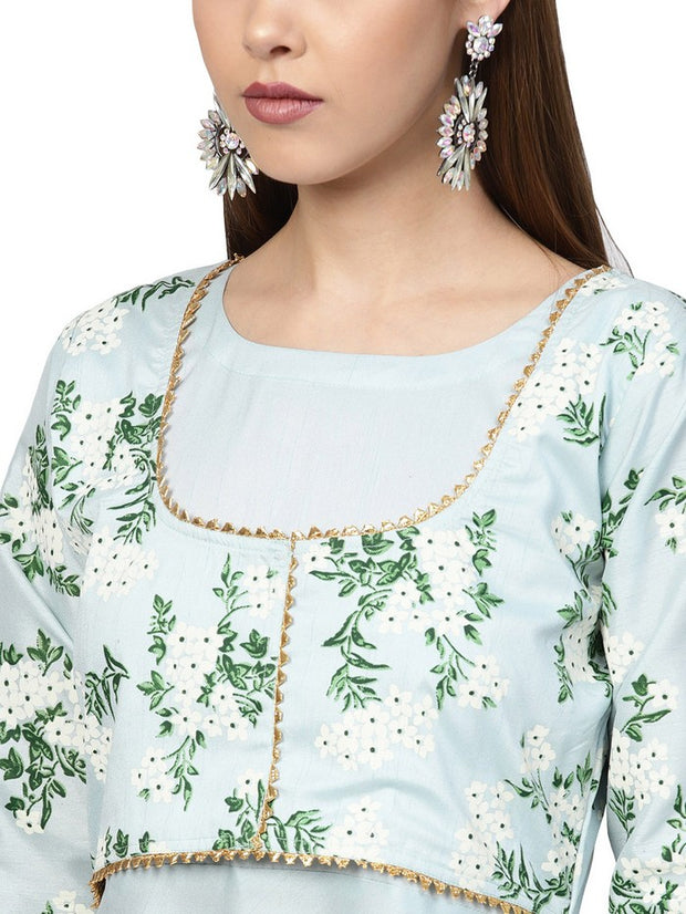 Shop Woman's Poly Art Silk Kurta in Sky Blue At KarmaPlace