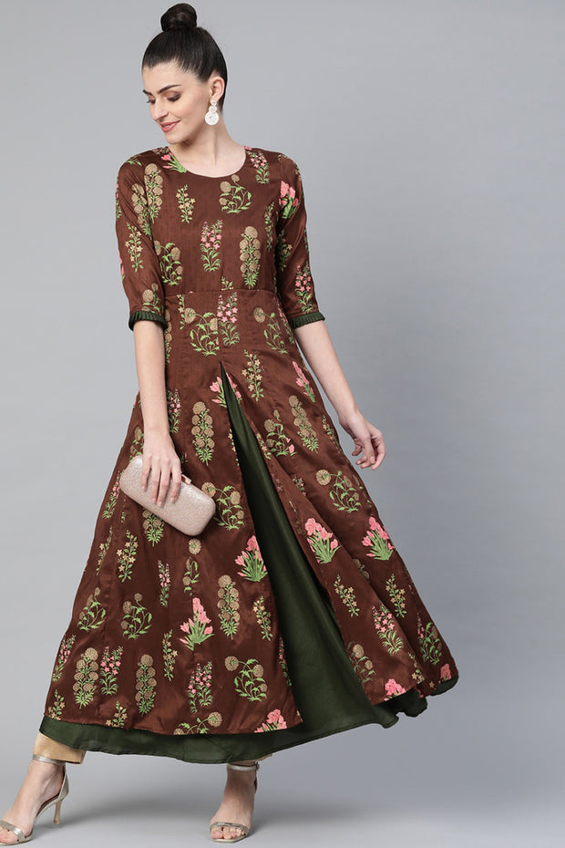 Poly Art Silk Printed Kurta in Brown and Olive Green