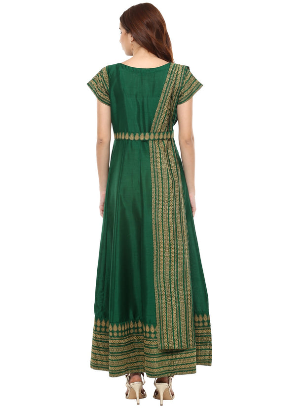 Poly Art Silk Anarkali Kurta in Green