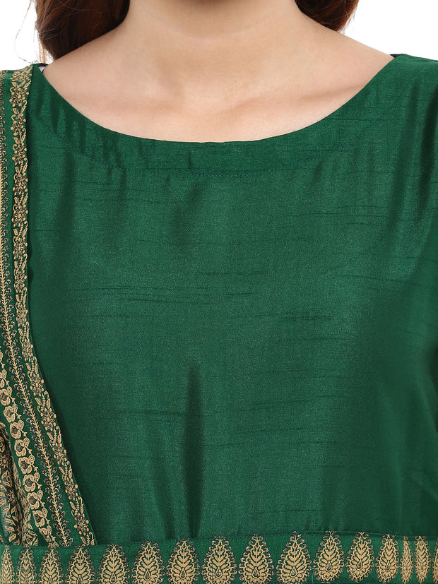 Ahalyaa Women's Silk Anarkali Kurta in Green