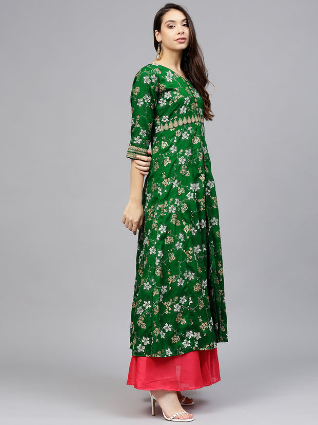 Ahalyaa Women's Silk Kurta in Green