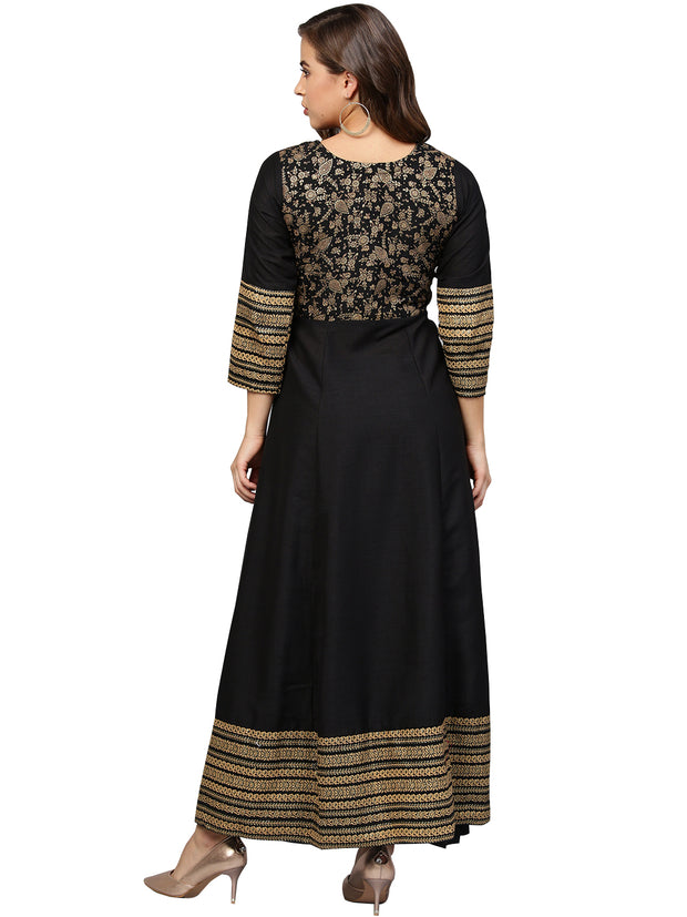Poly Art Silk Glitter Kurta in Black