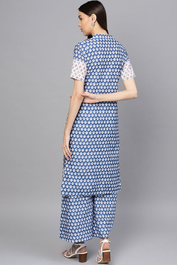 Cotton Printed Kurta Set in White and Blue