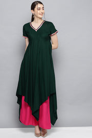 Ahalyaa Rayon Fabric Solid Kurta with Palazzo in Dark Green