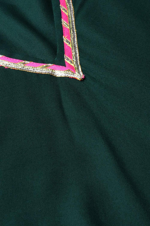 Rayon Fabric Solid Kurta with Palazzo in Dark Green