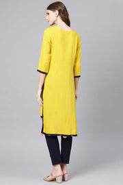 Rayon Solid Kurta in Yellow