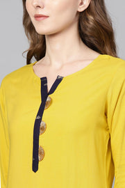 Ahalyaa Rayon Solid Kurta in Yellow
