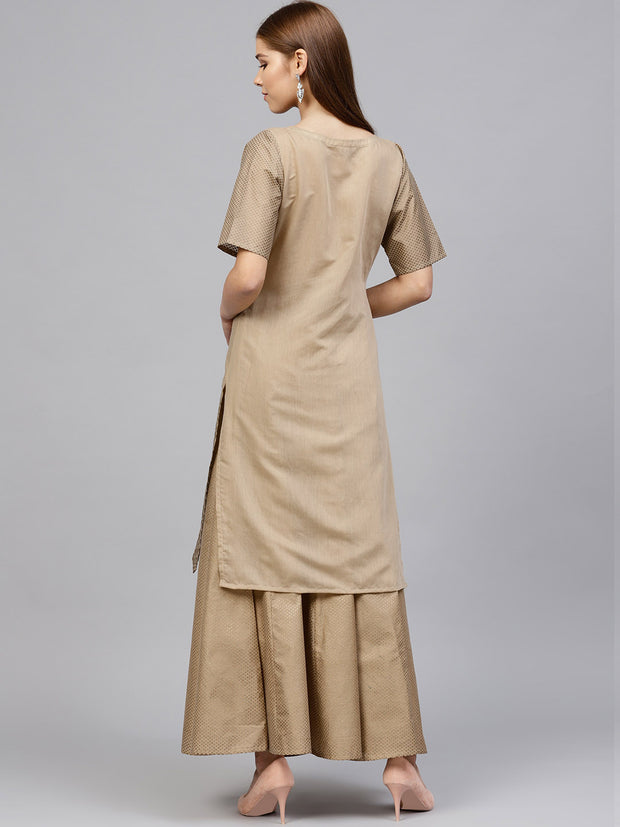 Ahalyaa Women's Chanderi Kurta Sets in Beige