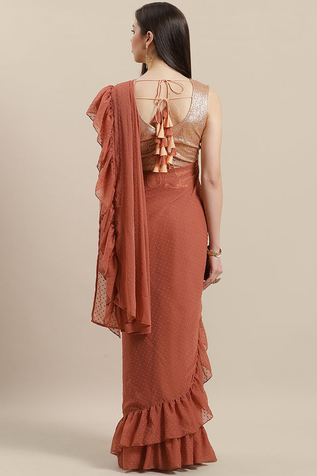 Chiffon Saree in Rusty Rose Online