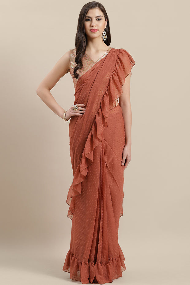 Buy Chiffon Printed Ready Made Saree in Rusty Rose Online