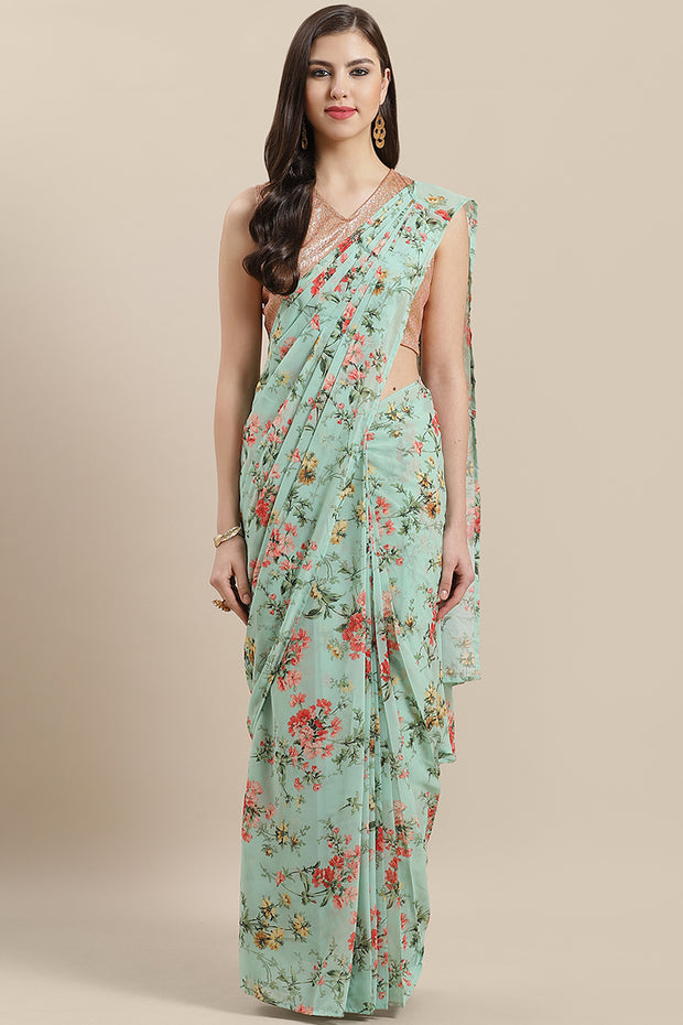 Georgette Digital Print Ready Made Saree in Light Green