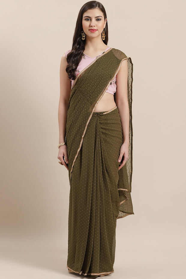 Georgette Digital Print Ready Made Saree in Olive Green