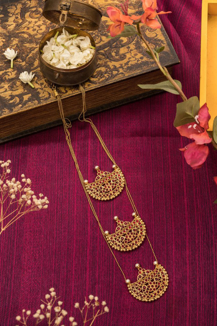 Women's Brass Long Necklace in Red and Gold