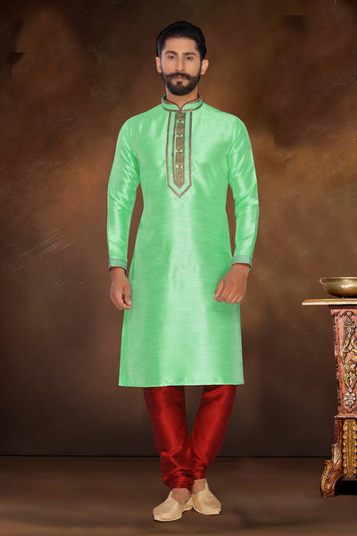 Atool Women's Dhupion and Silk kurta Set in Green