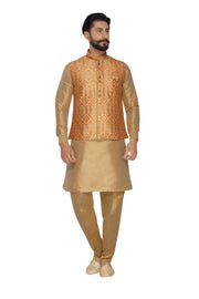 Atool Men's Jacquard Nehru Jacket with Kurta Pyjama Set in Copper Gold