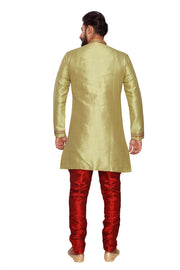 Atool Men's Jacquard Indo Western Sherwani in Green