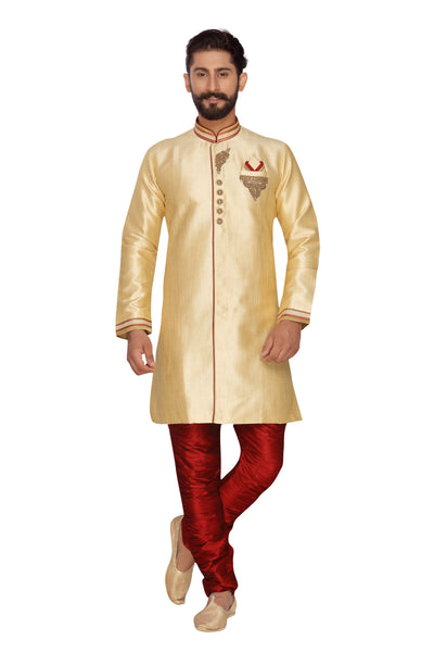 Men's Jacquard Indo Western Sherwani in Beige Cream