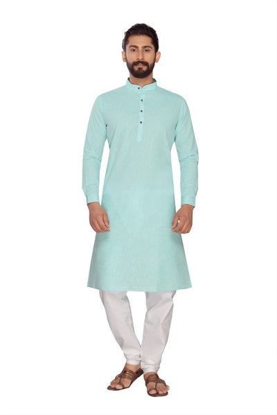 Atool Women's Polly Linen kurta set in Aqua-Blue