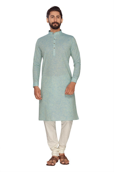 Atool Women's Polly Linen kurta set in Sea Green