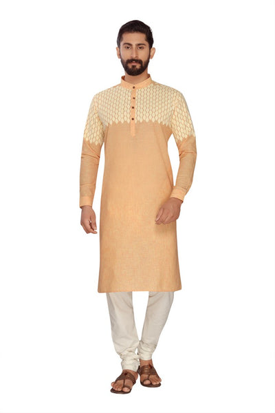 Atool Women's Polly Linen kurta set in Orange