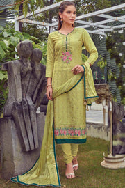 Art Silk Embroidered Dress Material in Light Green