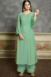 Art Silk Embroidered Kurta Set in Turquoise
