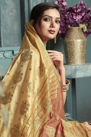 Art Silk Woven Saree in Beige