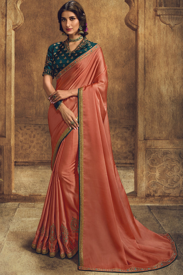 Art Silk Embroidered Saree in Orange