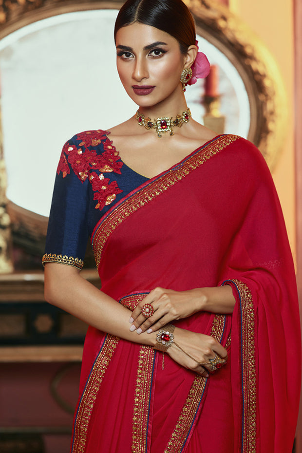 Art Silk Embroidered Saree in Red