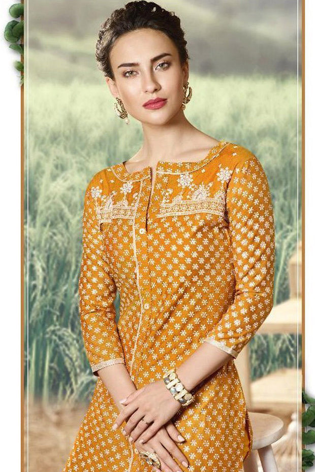 Art Silk Embroidered Kurta Set in Mustard